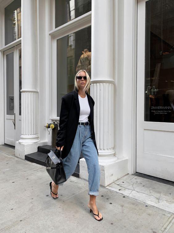 cómo combinar slouchy jeans